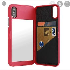 iPhone Wallet Mirror Case (Pink)
